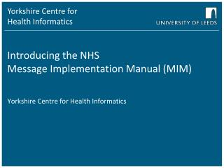 Introducing the NHS Message Implementation Manual (MIM)