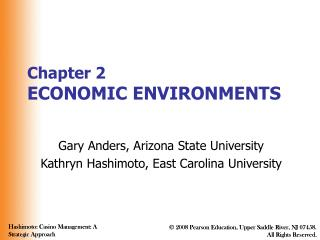 Chapter 2 ECONOMIC ENVIRONMENTS