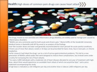 Health : High doses of common pain drugs can cause heart attack