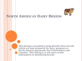 North American Dairy Breeds
