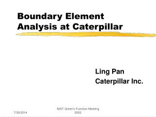 Boundary Element Analysis at Caterpillar