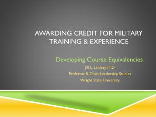 Awarding Credit for Military Training & Experience