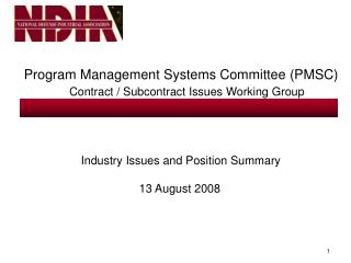 Program Management Systems Committee (PMSC) Contract / Subcontract Issues Working Group