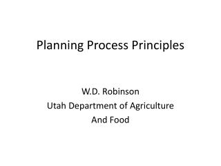 Planning Process Principles