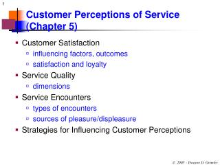 Customer Perceptions of Service (Chapter 5)