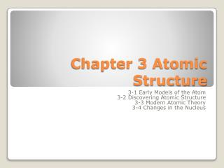 Chapter 3 Atomic Structure