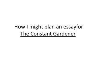 How I might plan an  essayfor The Constant Gardener