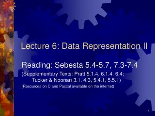 Lecture 6: Data Representation II