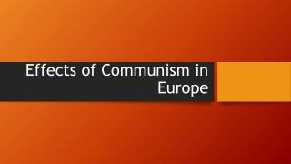 Effects of Communism in Europe
