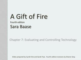 A Gift of Fire Fourth  edition Sara  Baase
