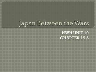 Japan Between the Wars