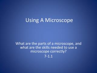 Using A Microscope
