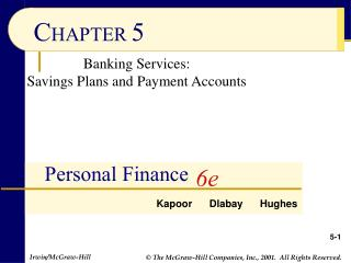 Banking Services: Savings Plans and Payment Accounts