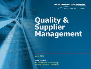 Quality & Supplier Management