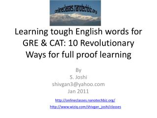 Learning tough English words for GRE  CAT: 10 Revolutionary Ways for full proof learning