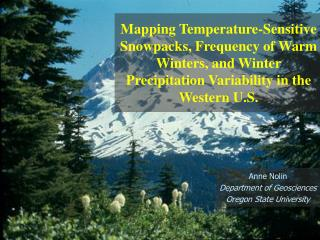 Climate Warming Impacts on Snow and Water Resources