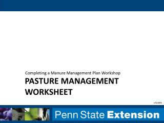 Pasture management worksheet