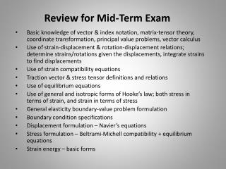 Review for Mid-Term Exam