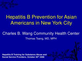 Hepatitis B Prevention for Asian Americans in New York City