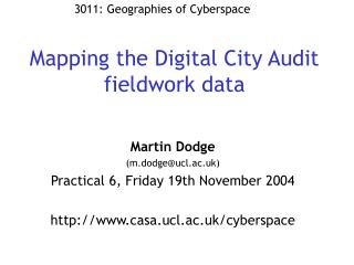 Mapping the Digital City Audit fieldwork data
