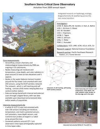 Southern  Sierra Critical Zone Observatory Activities from 2009 annual report
