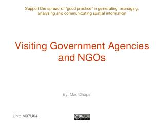 Visiting Government Agencies and NGOs