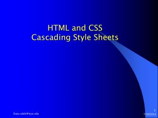 HTML and CSS Cascading Style Sheets