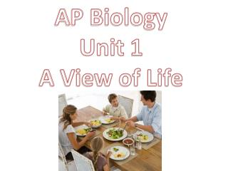 AP Biology Unit 1 A View of Life