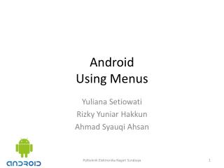 Android Using Menus