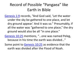 "Record of Possible ""Pangaea"" like Earth in Bible"