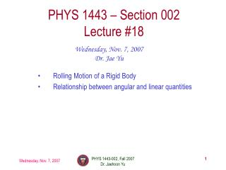 PHYS 1443 – Section 002 Lecture #18