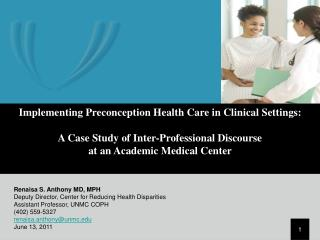 Implementing Preconception Health Care in Clinical Settings:
