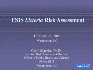 FSIS  Listeria  Risk Assessment