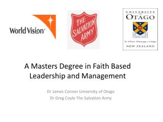 A Masters Degree in Faith Based Leadership and Management