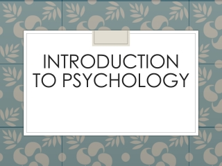 Research Methods  Scientific Thinking in Psychology Chapter 1