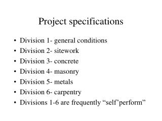Project specifications