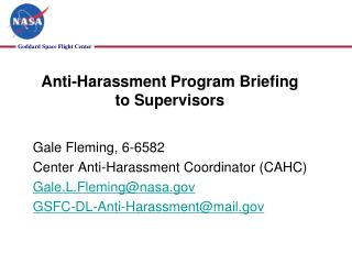 Anti-Harassment Program  Briefing to Supervisors