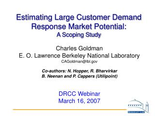 Estimating Large Customer Demand Response Market Potential: A Scoping Study