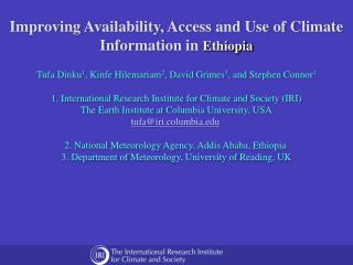 Improving Availability, Access and Use of Climate Information in  Ethiopia