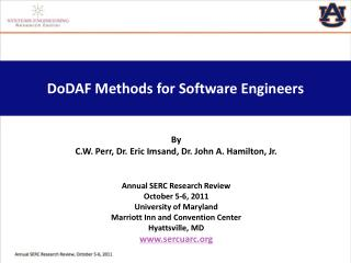 DoDAF  Methods for Software Engineers