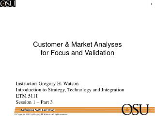 Customer & Market Analyses  for Focus and Validation
