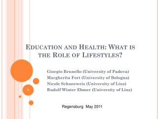 Education and Health: What is the Role of Lifestyles?