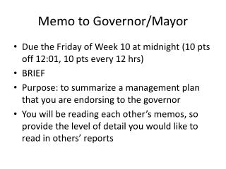Memo to Governor/Mayor