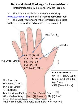 Back and Hand Markings for League Meets (information from Athlete and/or Meet Program)
