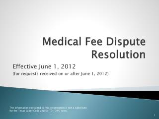 Medical Fee Dispute Resolution