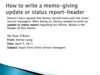 How to write a memo-giving update or status report-header