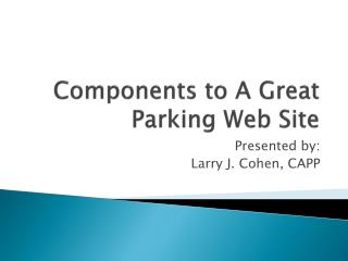Components to A Great Parking Web Site
