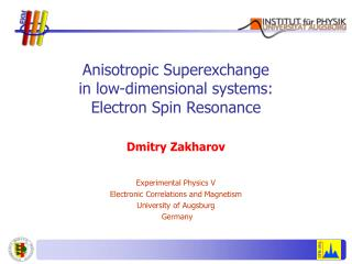 Anisotropic Superexchange in low-dimensional systems: Electron Spin Resonance