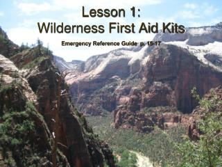 Lesson 1: Wilderness First Aid Kits Emergency Reference Guide  p. 15-17