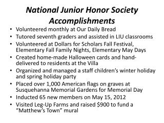 National Junior Honor Society Accomplishments